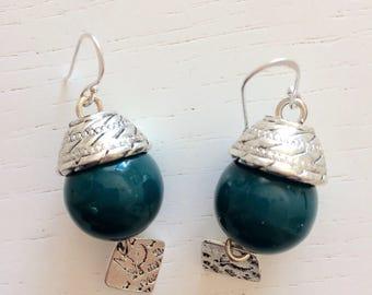 Teal ceramic earrings