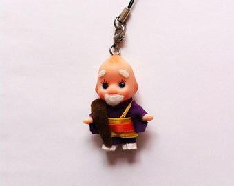 Japanese Buddhist Monk Kewpie Dolls, Cell Phone Strap, Keychain, Phone Charm, Purse Strap