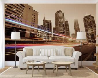 City at night wallpaper, self adhesive, wall mural, photo wall mural, wall decal