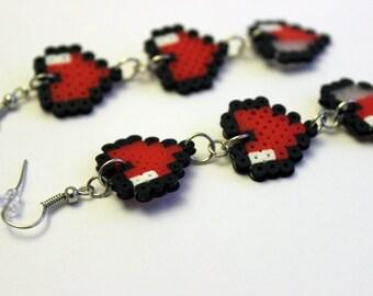 Heart Container Earrings - Legend of Zelda - Mini Perler Beads