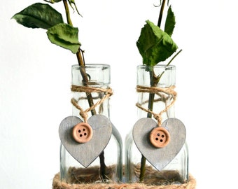 Pair Rustic Rope Button Wooden Heart Decorative Set 2 Glass Bottles Flower Bud Shabby Chic