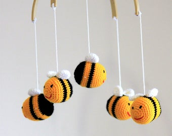 Baby Mobile Bumble Bees - Handmade Crochet Bees Mobile - Nursery Decor - Toys Accessories