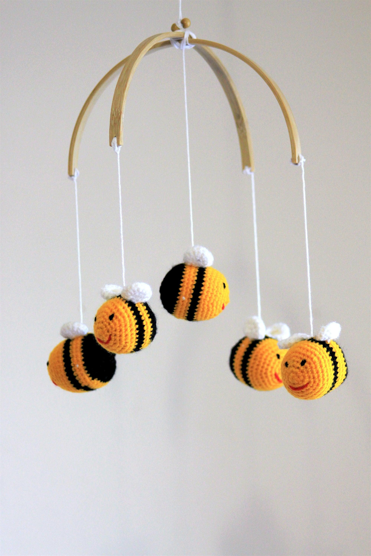 Bebé móvil abejorros hecho a mano del ganchillo abejas móvil
