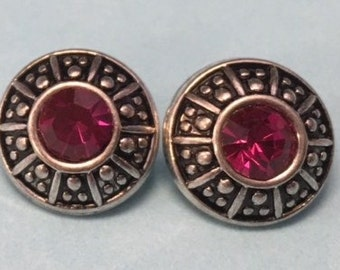 Trendy New 12mm Strass Alloy Snap with a Pink Rhinestone in the Center - Fits All Inerchangeable 12mm Snap Jewelry - Price is Per Snap