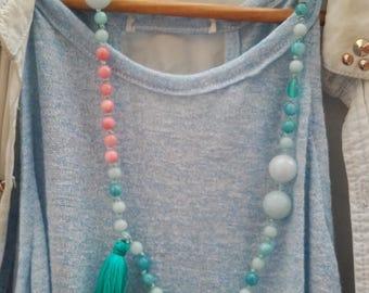 Necklace of the peace sweetness of the tassel quartz crystal tassel birthday love Zen blue pink women's