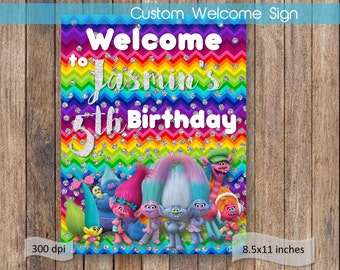 Trolls Welcome Sign Trolls Name Birthday Welcome Sign Printable Trolls Birthday Party Theme Digital File Trolls Birthday Sign DIGITAL FILE