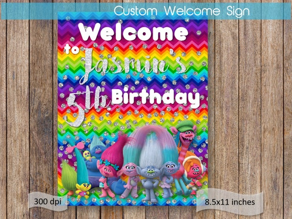 Trolls Welcome Door Sign