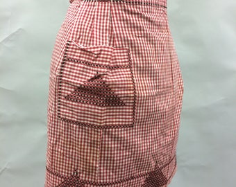 Vintage Red and White Gingham Apron with Black Cross Stitch
