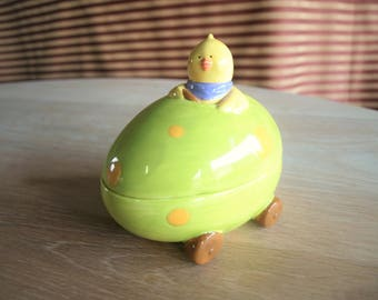 Ceramic Easter Egg Car Lidded Candy Dish Driven by a Chick