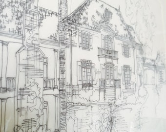 "Custom Rendering in Watercolor/Pen & Ink.  12"" x 18"""
