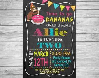 Curious George Girl Birthday Party Invitation