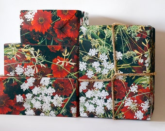 Winter Flowers Wrapping Paper; Flower Gift Wrapping; Christmas Wrapping Paper; Gift Wrapping; Wrapping Paper; Christmas Flower Gift Wrap