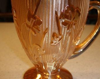 Peach Daffodil Carnival Glass  Pitcher