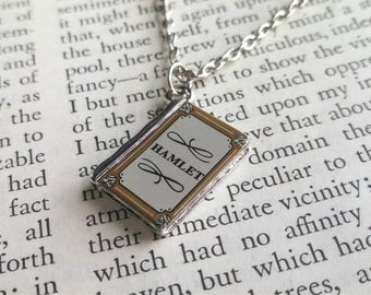 Hamlet Shakespeare necklace, Shakespeare book necklace, Hamlet jewelry, Shakespeare gift, book jewelry, literature necklace