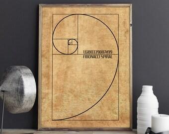 Golden Ratio, Math Decor, Fibonacci Spiral, Fibonacci Decor, Golden Ratio Decor, Fibonacci Poster, Fibonacci Wall Art, Fibonacci Wall Print