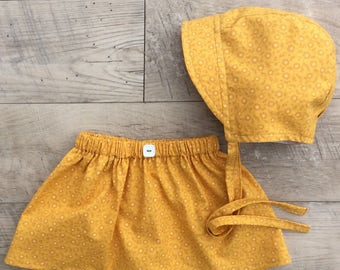 Baby bonnet and skirt set/baby skirt and bonnet set/mustard bonnet/cotton skirt /mustard skirt set/baby girl skirt set/matching baby set