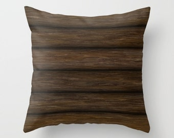 Log Cabin Pillow, Rustic Pillow, Throw Pillow Cover, Log Pillow, Log Cabin, Brown Pillow, Wood Cabin, Wooden Logs, Wood Logs, Nature Pillow