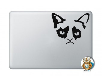 Grumpy Cat Macbook Decal ,MacBook Air 13 Sticker, Macbook Pro 13 Decal, New Macbook decal , Removable Macbook Sticker // QDECALS
