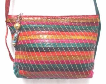 Sharif Vintage mulitcolor leather patchwork embroidered shoulder bag purse