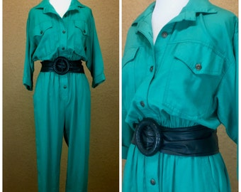 1980's Teal Button Up Jumpsuit