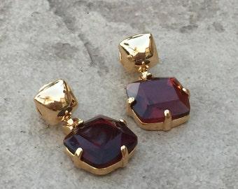Ruby in 18k Gold Filled Earrings