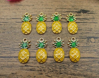 8 Pineapple Charms,Yellow and Green Plated Enamel -RS625