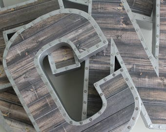 Faux Reclaimed Wood Letters, Gallery Wall, Reclaimed Wood Letters, Metal  Letters, Letters