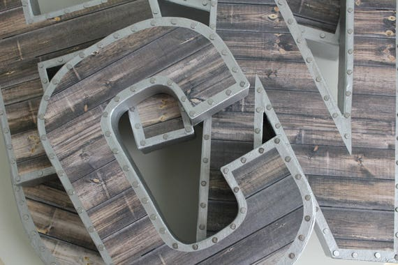 Reclaimed Metal Letters Captivating Faux Reclaimed Wood Letters Gallery Wall Reclaimed Wood Inspiration