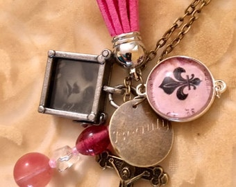 Bronze Photo Frame Necklace 24""