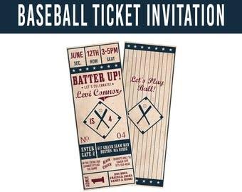 PRINTABLE Vintage Baseball Ticket Invitation, Retro Baseball Invitation, Baseball Birthday Invitation, Baseball Birthday Party Ticket Invite