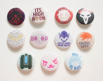 "OVERWATCH 1.5"" pinback buttons   badges   pins (Mei, D.va, Mercy, Mcree, Junkrat, Tracer, Reaper, Sombra)   KeikiiArt"