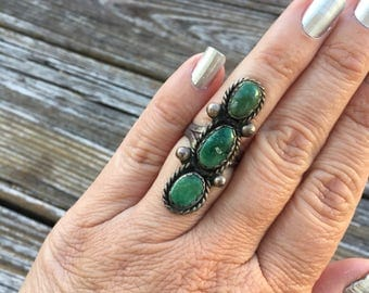 Long Green Turquoise and Sterling Silver Ring | Navajo Jewelry | Old Turquoise Ring | Western Jewelry | Southwestern Style | Cowgirl Rings