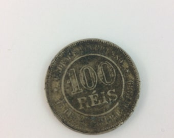 An 1896 100 Reis Brazilian Coin In Uncleaned Condition A Nice Collactable Coin