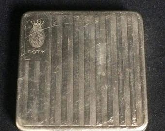 Small vintage silver tone coty powder compact in vintage condition see pictures