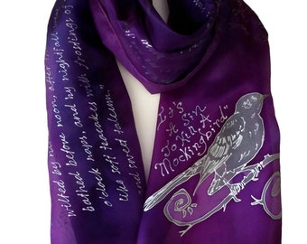 To Kill a Mockingbird quotes Book Literature Scarf, Hand Painted Silk Scarf 17X72 inch Gift-Wrapped, READY to Ship Immediately