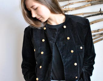 Velvet coat 1990s 1980s vintage womens casual black velur jacket