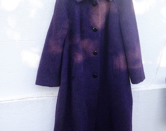 Vintage Coat, Wool coat, Mohair coat, Purple coat, Cashmere coat, Women's coat, Women's gift, Collectible
