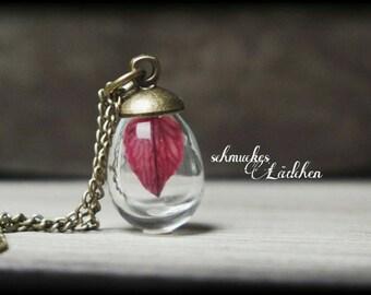 Antique bronze glass vials necklace with genuine petal