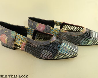 Size 39 Vintage 80s Multi-Colored Shoes by Miele Net Flats Square Toe Slip Ons Made in Italy