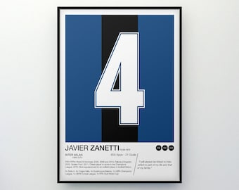 Javier Zanetti - #4 - Inter Milan - Poster Print