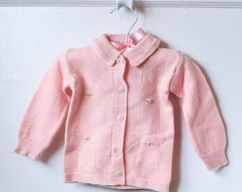Vintage Baby Long Sleeve Cardigan with White Lining and Pink Flowers