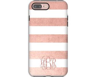 iPhone 7 case,  rose gold iPhone case, rose gold stripes iPhone 6s/6s Plus/6/6 Plus/5s/5/SE cases, monogram iPhone 7 Plus case