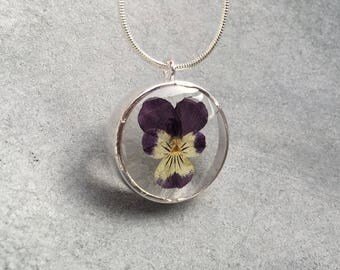Purple Yellow Pansy in Silver Open Back Bezel Resin Pendant, Resin Necklace, Resin Jewelry, Pressed Flower Jewelry, Botanical