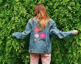 FLOWERS hand painted denim jacket