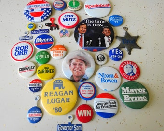 Vintage Political Campaign Pins Pinback Badge Button Lot Collection (31) Each All Different Republican Democrate Estate Mix All As Shown