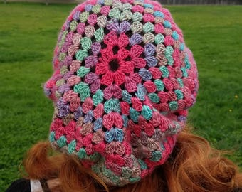 Pink, purple and blue granny slouchie
