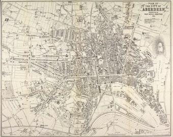 Aberdeen, vintage town plan | Fine Art Print | Antique map of Aberdeen, River Dee, Aberdeenshire from 1883