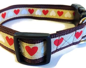 X-Large Burlap Hearts Dog Collar