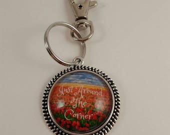 "JW key chain ""Just Around The Corner"" JW.org, JW gifts, Jw items, baptism gift"