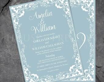 Florence Wedding Invitations, Traditional Elegant Wedding Stationery Set